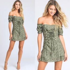 Dresses & Skirts - $110 Off The Shoulder Eyelet Mini Dress tiger mist